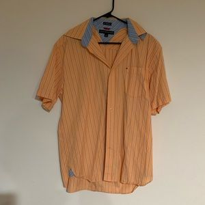 Tommy Hilfiger orange men's button shirt M stripes